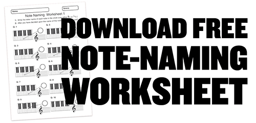 free printable PDF music theory worksheet on note naming
