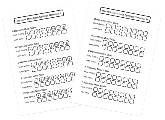 music theory harmonic minor scale worksheets