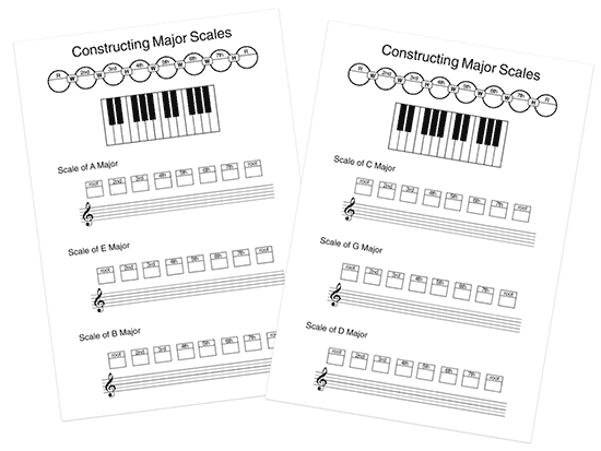 music theory scale worksheets with notation and keyboard