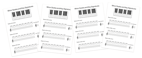 music theory minor scale worksheet with key signatures