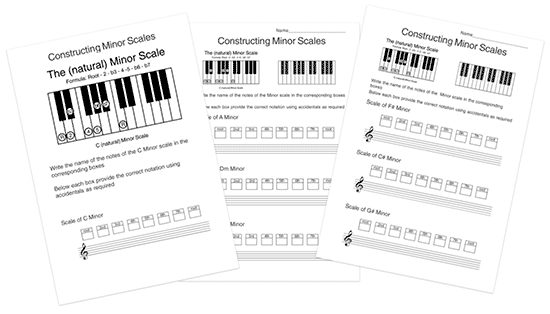 music theory minor scale worksheets with notation and keyboard
