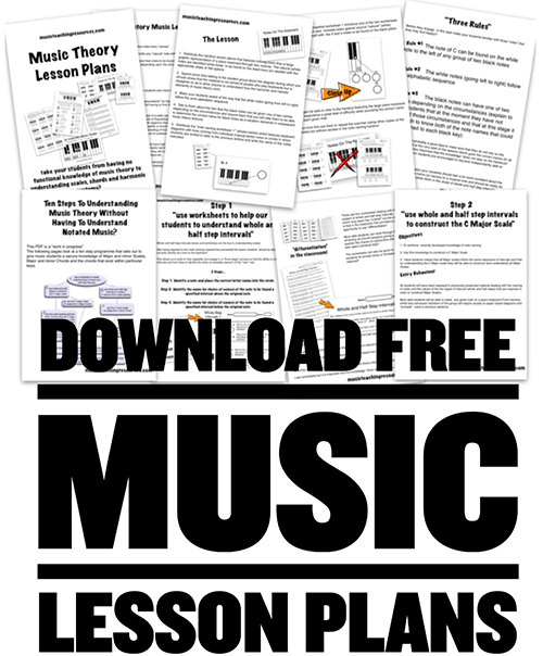 printable PDF music theory worksheets and associated lesson plans