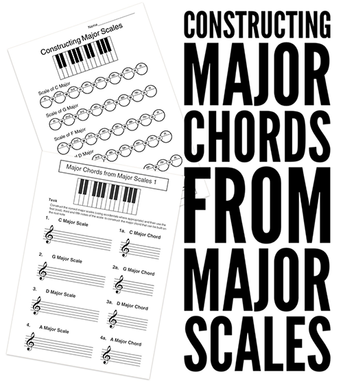 High School music theory lesson plans on major chord construction