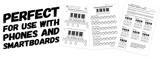 music theory worksheets and handouts for use with smartboards and phones