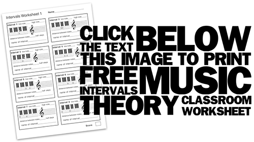 printable music theory worksheet on musical intervals