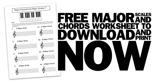 printable music theory worksheet on major scales and chords