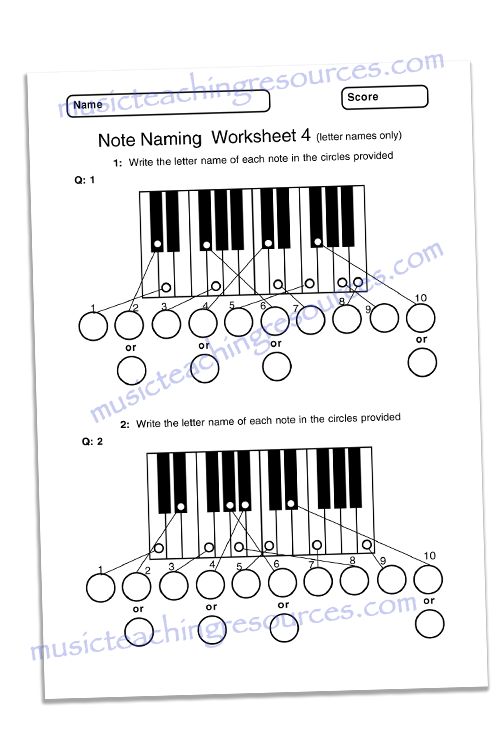 music worksheet note naming