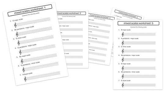music theory scale worksheets with notation