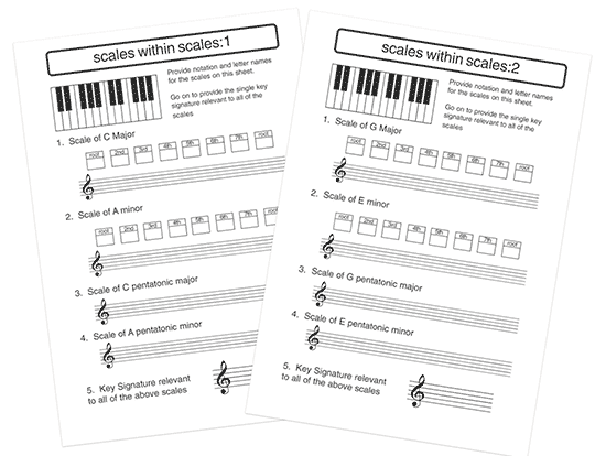 music theory worksheet on major and minor scales